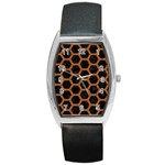 HEXAGON2 BLACK MARBLE & RUSTED METAL (R) Barrel Style Metal Watch Front