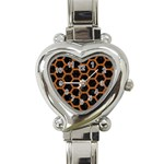 HEXAGON2 BLACK MARBLE & RUSTED METAL (R) Heart Italian Charm Watch Front