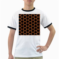 Hexagon2 Black Marble & Rusted Metal (r) Ringer T Shirts