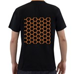 HEXAGON2 BLACK MARBLE & RUSTED METAL (R) Men s T-Shirt (Black) (Two Sided) Back