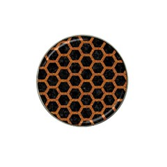 Hexagon2 Black Marble & Rusted Metal (r) Hat Clip Ball Marker