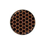 HEXAGON2 BLACK MARBLE & RUSTED METAL (R) Hat Clip Ball Marker Front