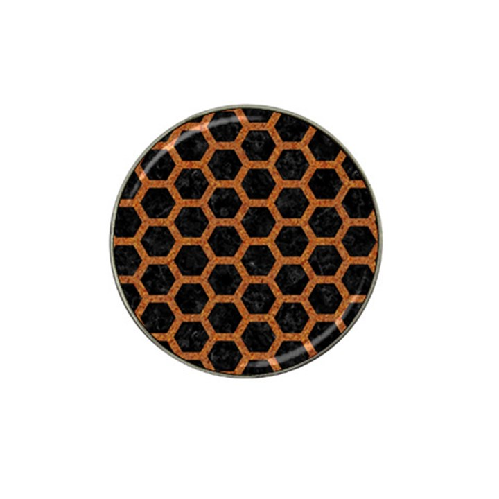 HEXAGON2 BLACK MARBLE & RUSTED METAL (R) Hat Clip Ball Marker (10 pack)