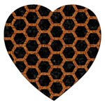 HEXAGON2 BLACK MARBLE & RUSTED METAL (R) Jigsaw Puzzle (Heart) Front