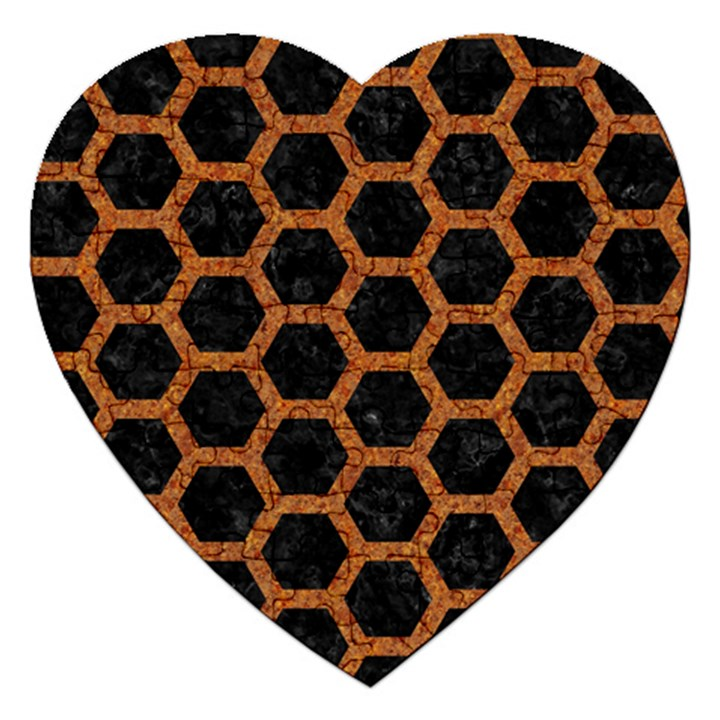 HEXAGON2 BLACK MARBLE & RUSTED METAL (R) Jigsaw Puzzle (Heart)