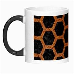 Hexagon2 Black Marble & Rusted Metal (r) Morph Mugs