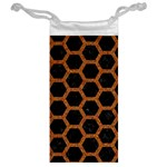 HEXAGON2 BLACK MARBLE & RUSTED METAL (R) Jewelry Bag Back