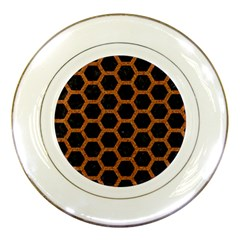 Hexagon2 Black Marble & Rusted Metal (r) Porcelain Plates