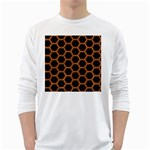 HEXAGON2 BLACK MARBLE & RUSTED METAL (R) White Long Sleeve T-Shirts Front