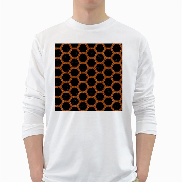 HEXAGON2 BLACK MARBLE & RUSTED METAL (R) White Long Sleeve T-Shirts