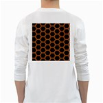 HEXAGON2 BLACK MARBLE & RUSTED METAL (R) White Long Sleeve T-Shirts Back