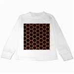 HEXAGON2 BLACK MARBLE & RUSTED METAL (R) Kids Long Sleeve T-Shirts Front
