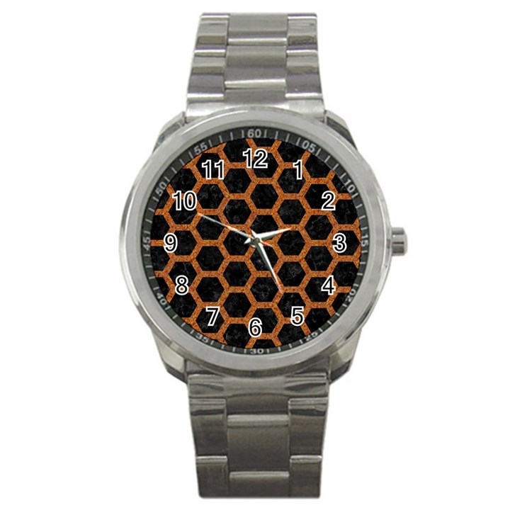 HEXAGON2 BLACK MARBLE & RUSTED METAL (R) Sport Metal Watch