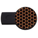 HEXAGON2 BLACK MARBLE & RUSTED METAL (R) USB Flash Drive Round (4 GB) Front