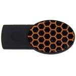 HEXAGON2 BLACK MARBLE & RUSTED METAL (R) USB Flash Drive Oval (4 GB) Front