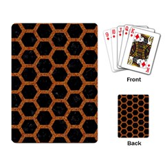Hexagon2 Black Marble & Rusted Metal (r) Playing Card