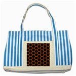 HEXAGON2 BLACK MARBLE & RUSTED METAL (R) Striped Blue Tote Bag Front