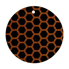 Hexagon2 Black Marble & Rusted Metal (r) Round Ornament (two Sides)