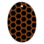 HEXAGON2 BLACK MARBLE & RUSTED METAL (R) Oval Ornament (Two Sides) Front