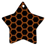 HEXAGON2 BLACK MARBLE & RUSTED METAL (R) Star Ornament (Two Sides) Back