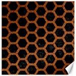 HEXAGON2 BLACK MARBLE & RUSTED METAL (R) Canvas 12  x 12   12 x12 Canvas - 1