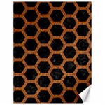 HEXAGON2 BLACK MARBLE & RUSTED METAL (R) Canvas 12  x 16   16 x12 Canvas - 1