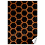 HEXAGON2 BLACK MARBLE & RUSTED METAL (R) Canvas 12  x 18   18 x12 Canvas - 1