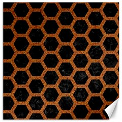 Hexagon2 Black Marble & Rusted Metal (r) Canvas 16  X 16