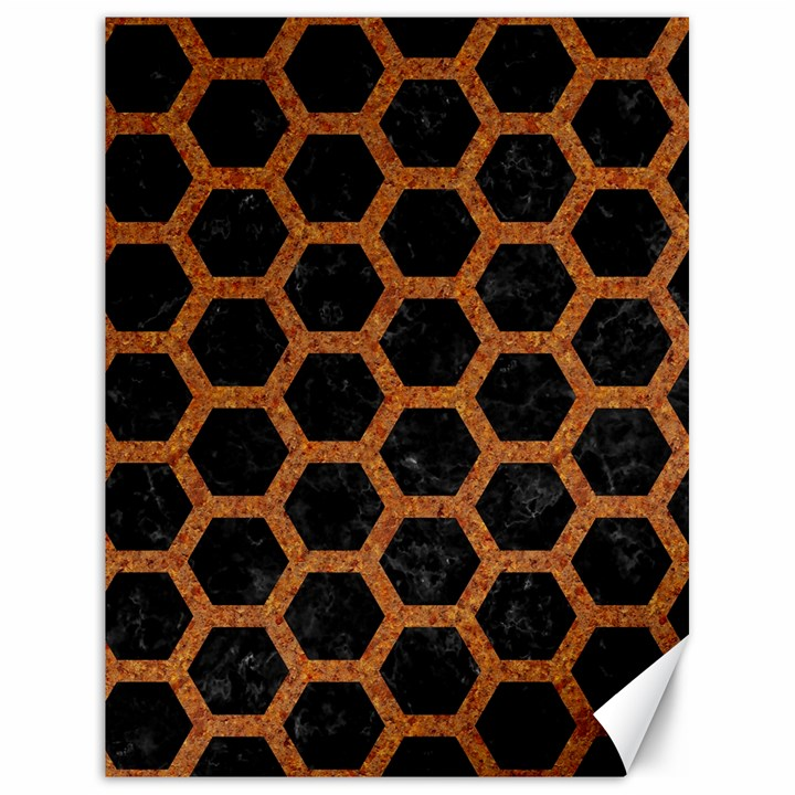 HEXAGON2 BLACK MARBLE & RUSTED METAL (R) Canvas 18  x 24
