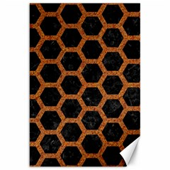 Hexagon2 Black Marble & Rusted Metal (r) Canvas 20  X 30