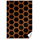 HEXAGON2 BLACK MARBLE & RUSTED METAL (R) Canvas 20  x 30   30 x20 Canvas - 1