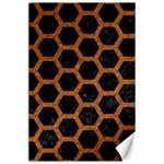 HEXAGON2 BLACK MARBLE & RUSTED METAL (R) Canvas 24  x 36  36 x24 Canvas - 1