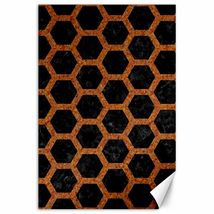 HEXAGON2 BLACK MARBLE & RUSTED METAL (R) Canvas 24  x 36
