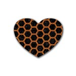HEXAGON2 BLACK MARBLE & RUSTED METAL (R) Rubber Coaster (Heart)  Front