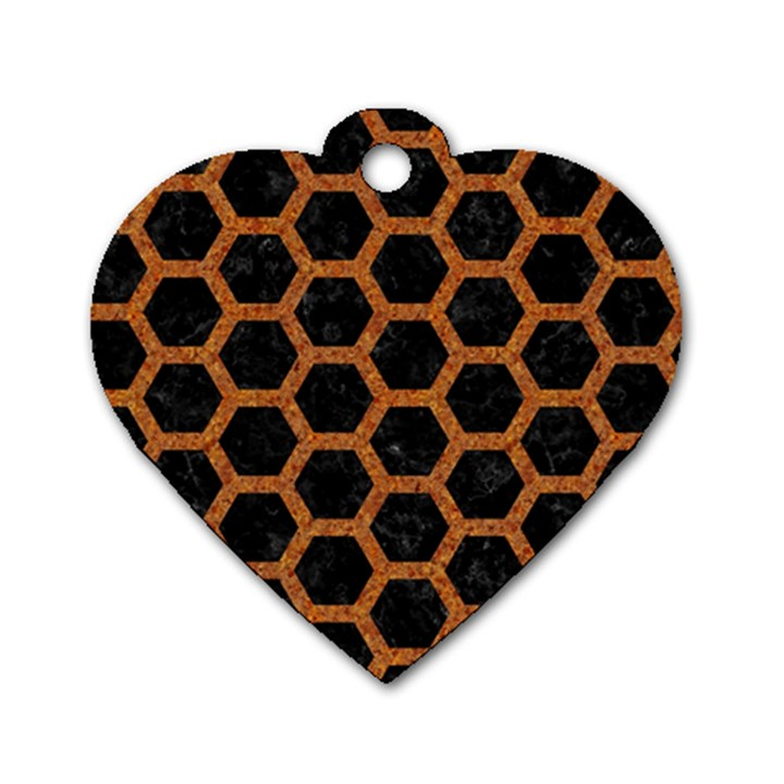 HEXAGON2 BLACK MARBLE & RUSTED METAL (R) Dog Tag Heart (One Side)