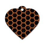 HEXAGON2 BLACK MARBLE & RUSTED METAL (R) Dog Tag Heart (Two Sides) Front
