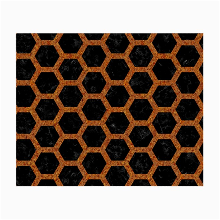 HEXAGON2 BLACK MARBLE & RUSTED METAL (R) Small Glasses Cloth (2-Side)