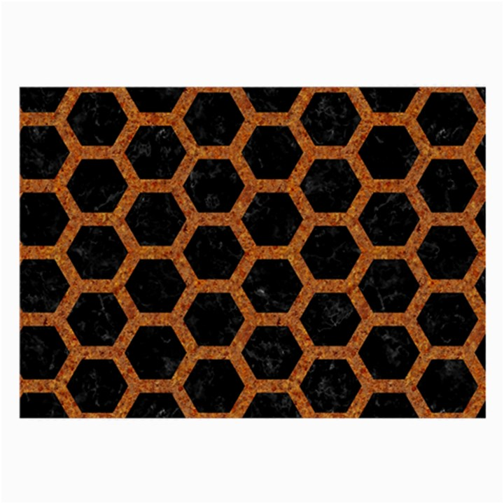 HEXAGON2 BLACK MARBLE & RUSTED METAL (R) Large Glasses Cloth