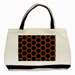 Hexagon2 Black Marble & Rusted Metal (r) Basic Tote Bag (two Sides)