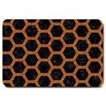 HEXAGON2 BLACK MARBLE & RUSTED METAL (R) Large Doormat  30 x20 Door Mat - 1
