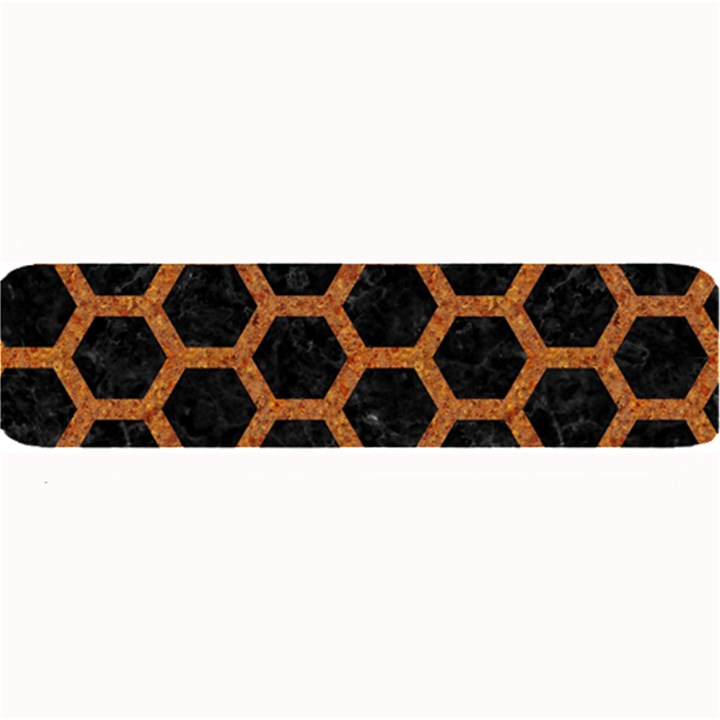 HEXAGON2 BLACK MARBLE & RUSTED METAL (R) Large Bar Mats