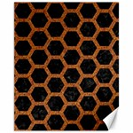 HEXAGON2 BLACK MARBLE & RUSTED METAL (R) Canvas 11  x 14   14 x11 Canvas - 1