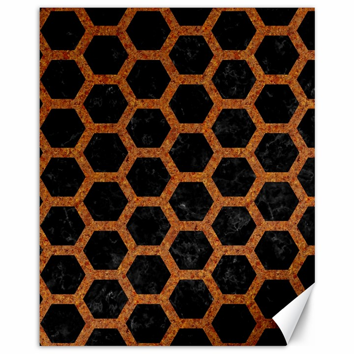 HEXAGON2 BLACK MARBLE & RUSTED METAL (R) Canvas 11  x 14