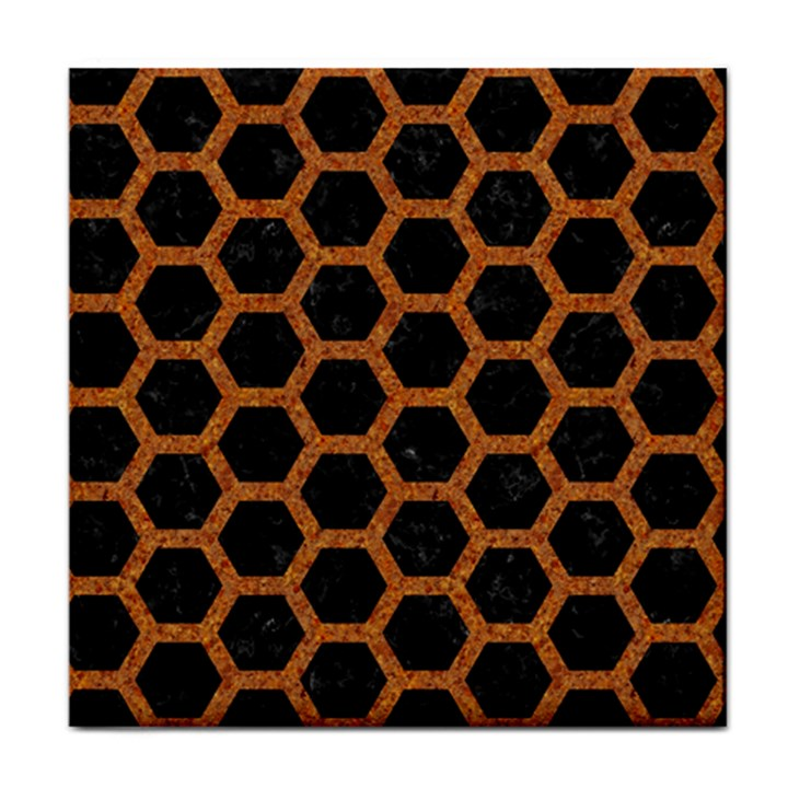 HEXAGON2 BLACK MARBLE & RUSTED METAL (R) Face Towel