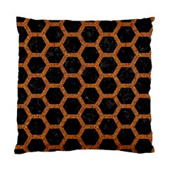Hexagon2 Black Marble & Rusted Metal (r) Standard Cushion Case (one Side)