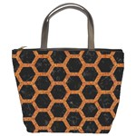 HEXAGON2 BLACK MARBLE & RUSTED METAL (R) Bucket Bags Front