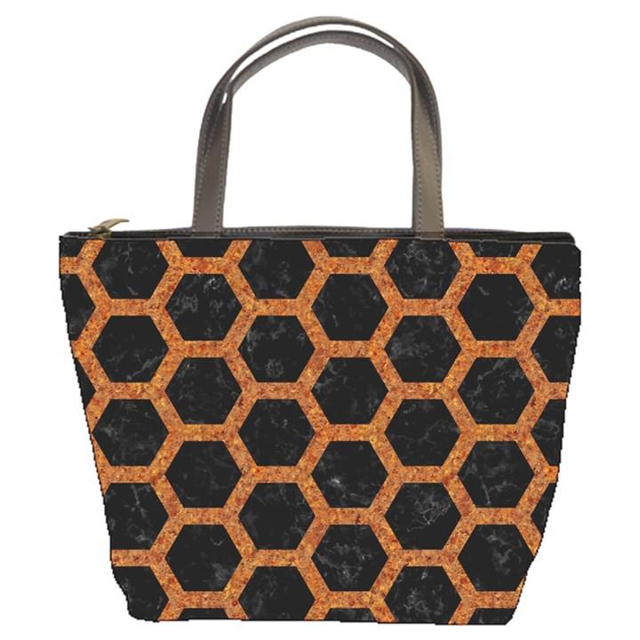 HEXAGON2 BLACK MARBLE & RUSTED METAL (R) Bucket Bags