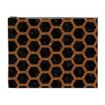 HEXAGON2 BLACK MARBLE & RUSTED METAL (R) Cosmetic Bag (XL) Front