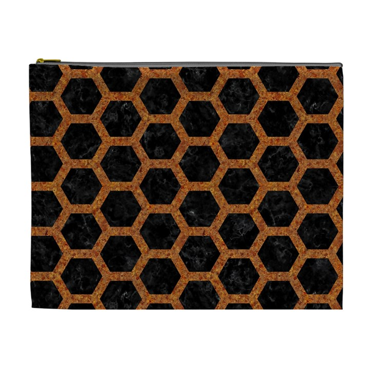 HEXAGON2 BLACK MARBLE & RUSTED METAL (R) Cosmetic Bag (XL)