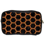 HEXAGON2 BLACK MARBLE & RUSTED METAL (R) Toiletries Bags 2-Side Front